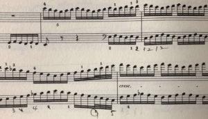 ベートーヴェンのトリプルコンチェルトの楽譜を撮影した写真