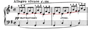 ブルグミュラー25の練習曲より 清らかな流れ 冒頭部分の楽譜の写真