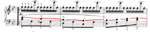 チェルニー30番練習曲より 第26番 中間部分の楽譜の写真