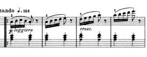 アラベスク 3小節目からの楽譜の写真