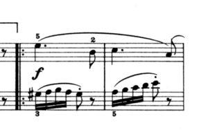 アラベスク 繰り返し以降の楽譜の写真