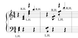 バーナムピアノテクニック1グループ1 第9番 を和音で弾いた時の楽譜の写真